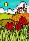 Hus og røde tulipaner