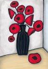Valmuer i sort vase